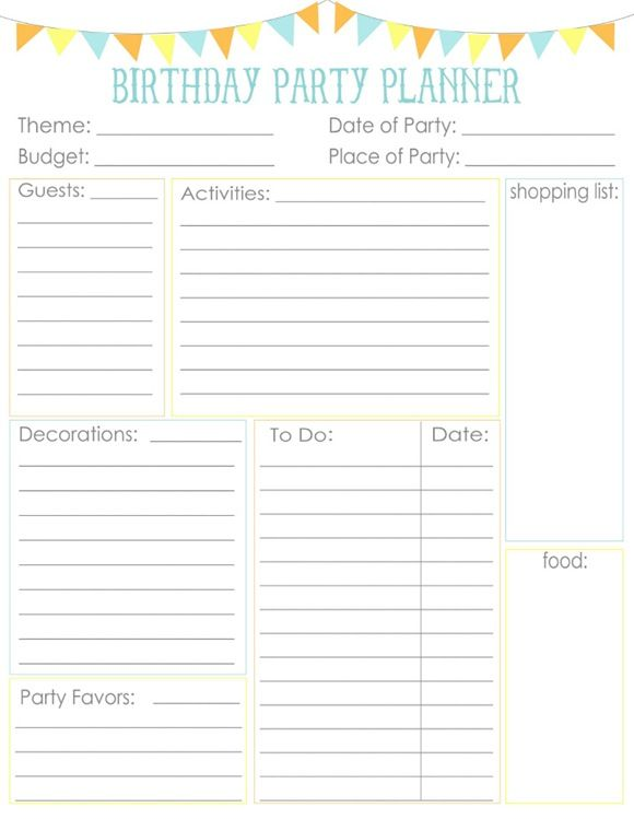 Birthday party planning sheet!! Everything I need on one sheet - birthday planner template