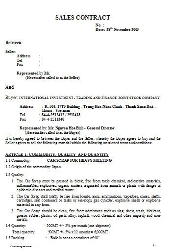 sales agreement contract template , How to Create Your Own Sales - sales contract
