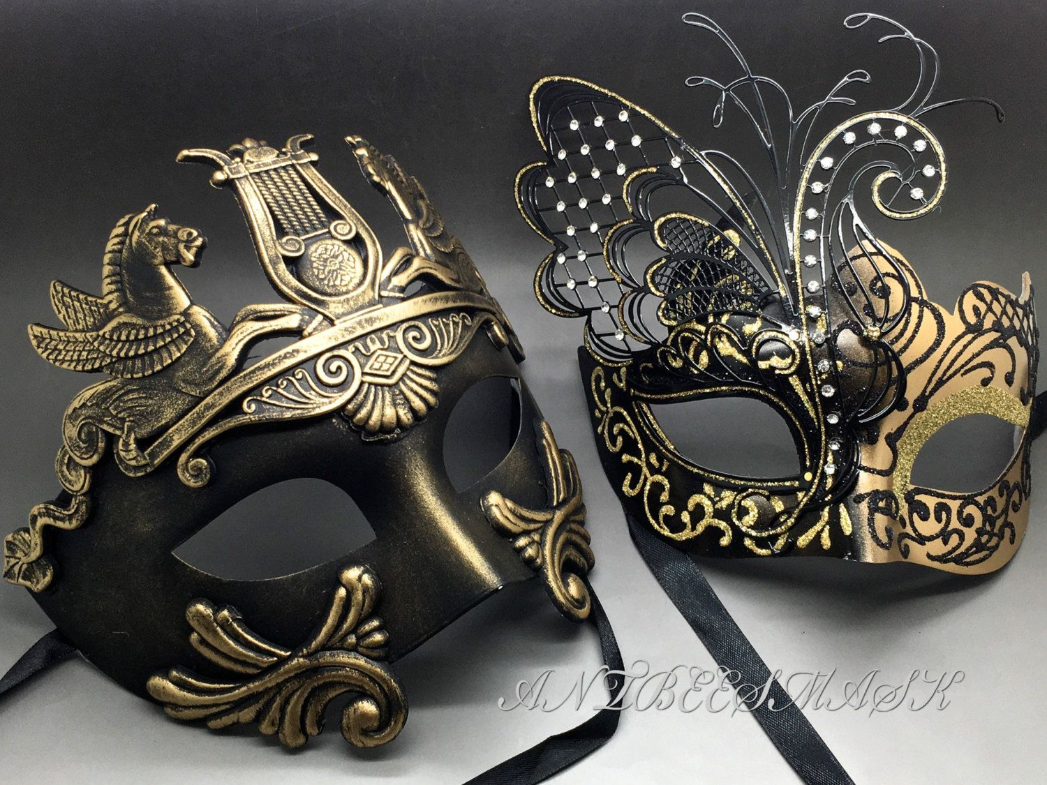 Couple gold black laser cut metal butterfly and rome warrior venetian masquerade party mask