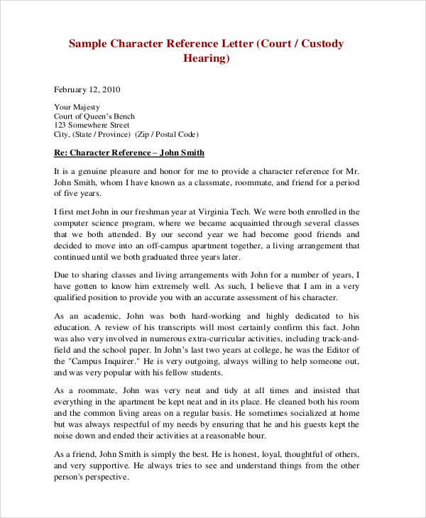 sample character reference letter for court hearing Professional - character letter