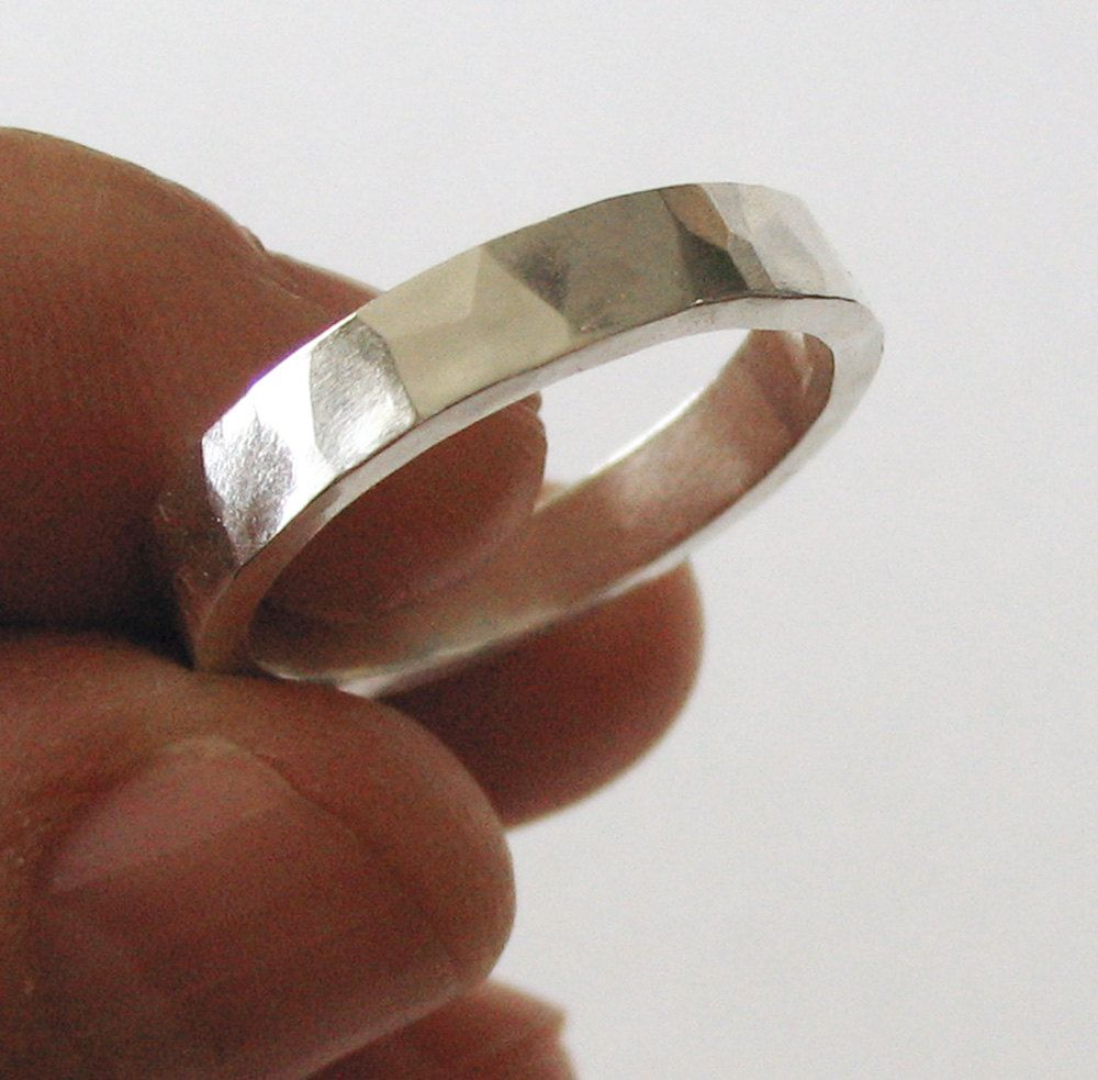 unisex wedding bands Mens Wedding Band Ring Unisex Wedding Ring Sterling Silver Faceted Modern