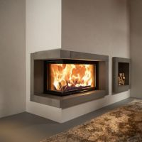 contemporary wood burning corner fireplace - Google Search ...