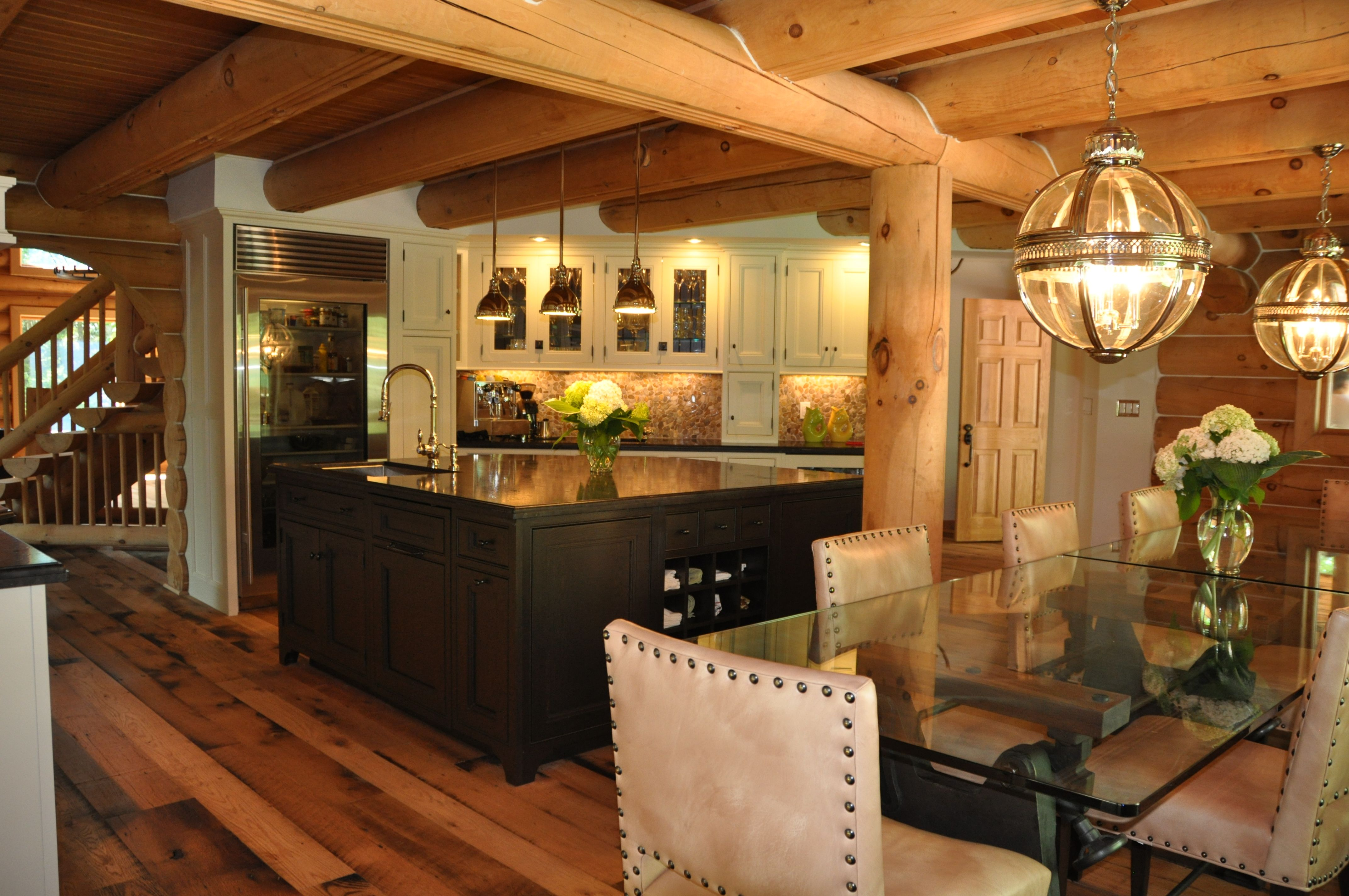 Elegant Wood Homes Elegant Log Home Kitchen The Island Is Handcrafted In Oak