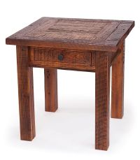 Reclaimed Wood End Table with Drawer. This reclaimed wood