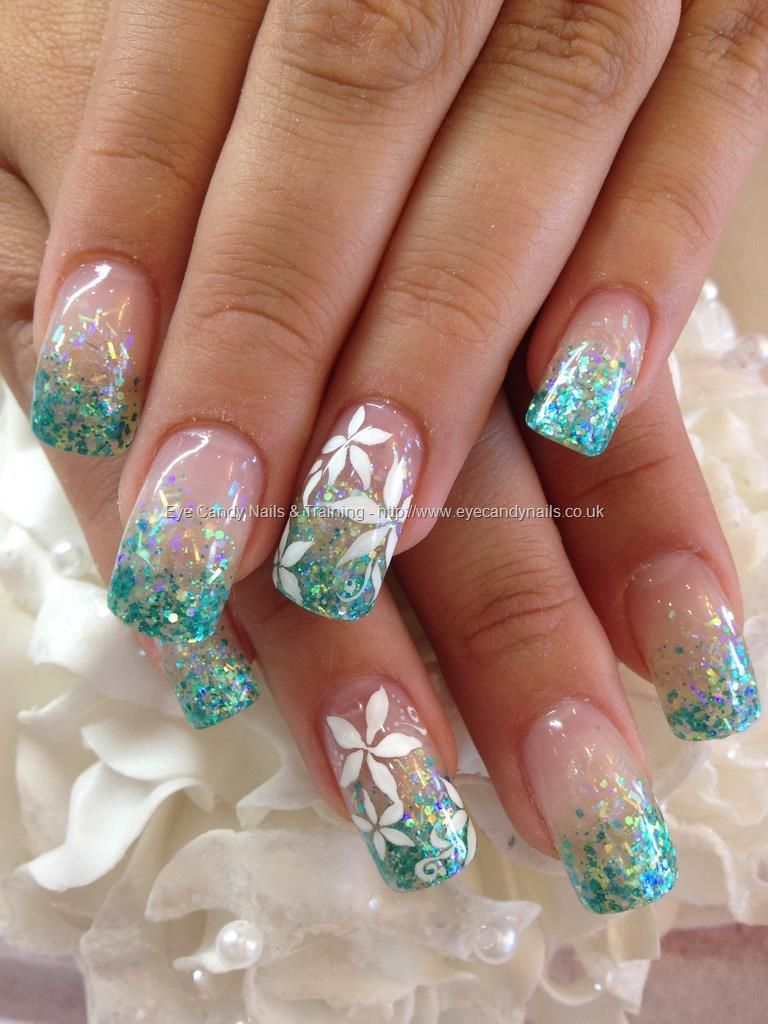 Teal Glitter Fade In Acrylic With White Flower Freehand