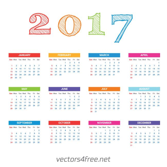 Get free 2017 Calendar template vector, Week starts from Sunday - sample quarterly calendar templates