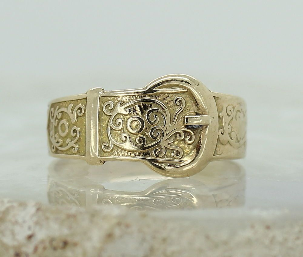antique mens wedding bands Vintage 9ct Yellow Gold Buckle Ring Size w Ladies or Mens Wedding Band 9CARAT eBay