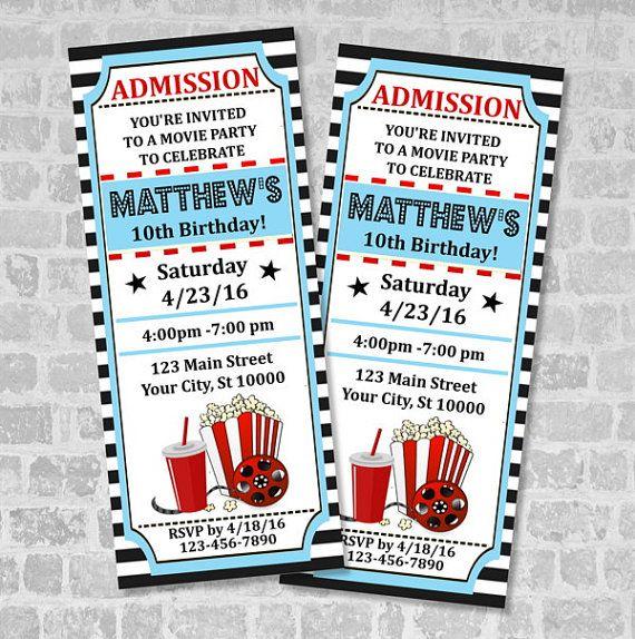 Movie Ticket Birthday Party Invitation, Custom Printable Vintage - ticket invitation