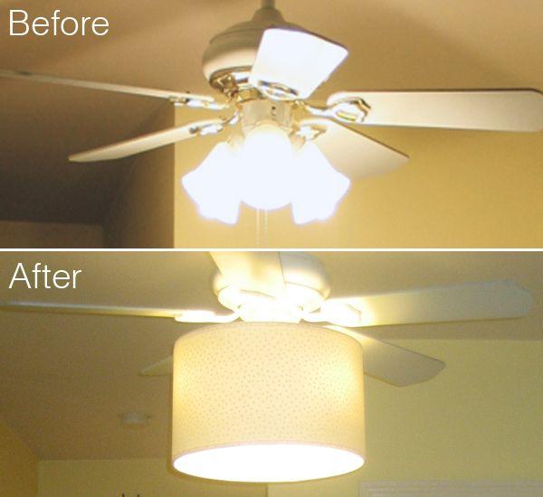 diy ceiling fan makeover, drum shade, tutorial