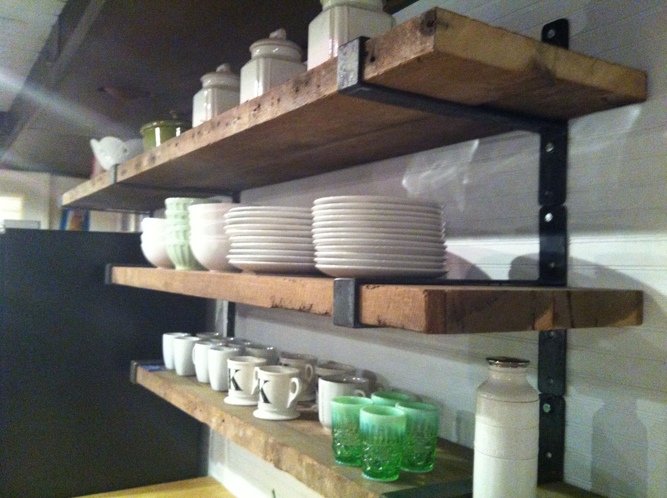 Rustic Wood Shelves With Metal Straps Like This With All