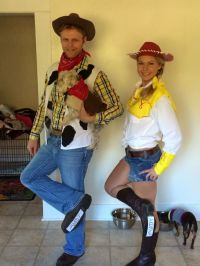 Woody, Jessie and Bullseye costumes. Toy Story costumes