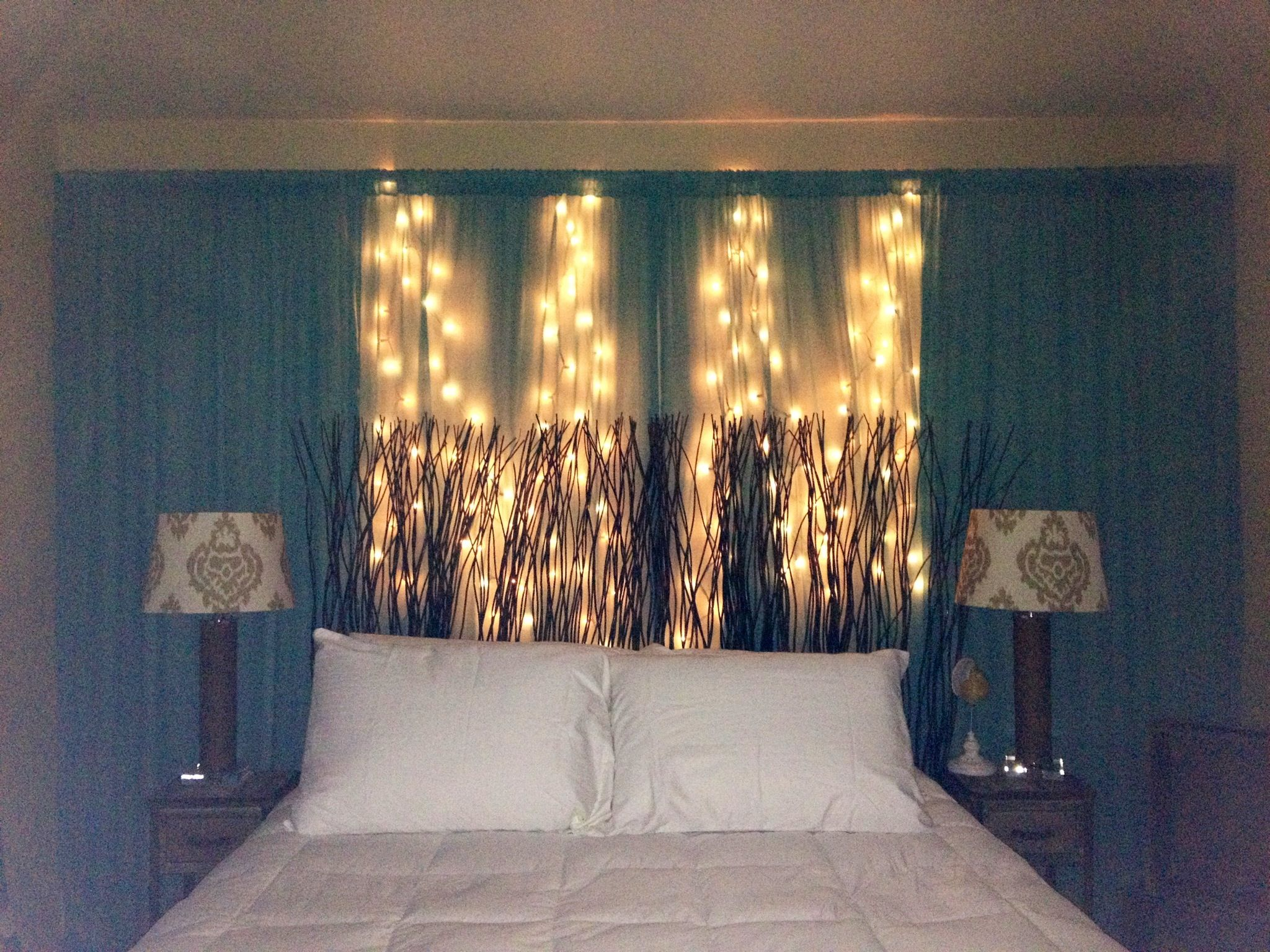 Curtains On Wall Behind Bed Diy Curtain And String Lights Behind Headboard On Wall