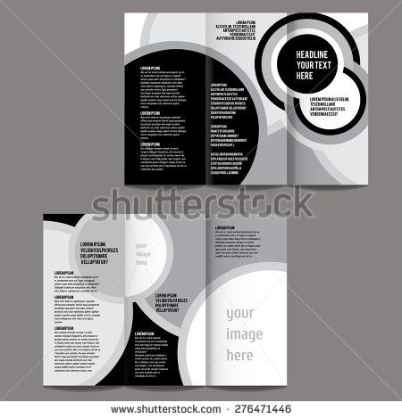brochure design template vector trifold black and white geometric - black and white flyer template