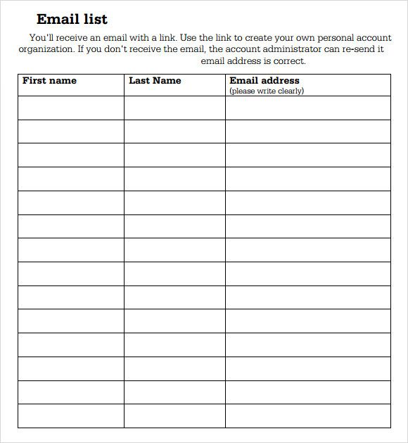 sample sign up sheet template Organizing Pinterest Templates - email sign up sheet template word