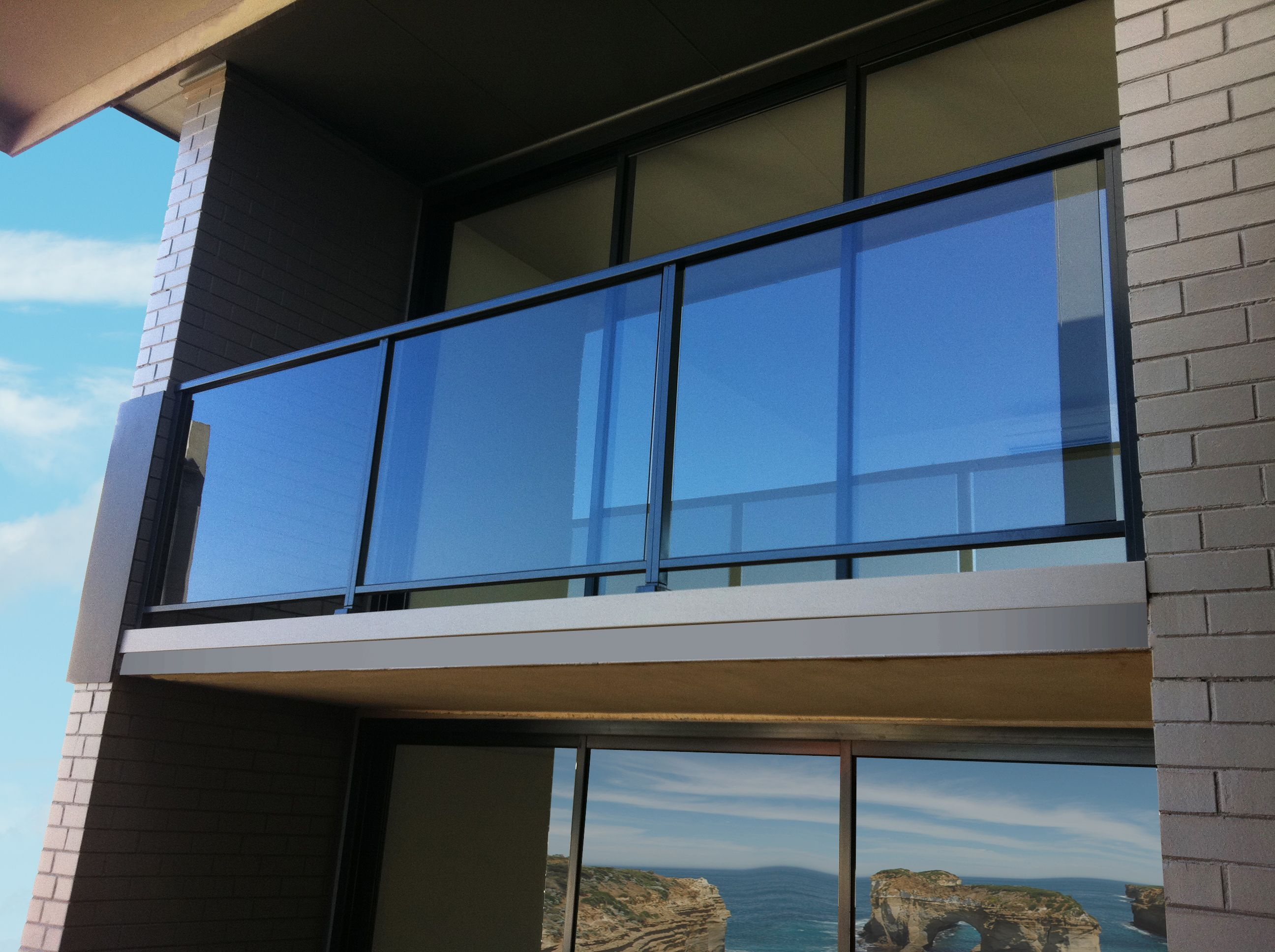 Holzgeländer Selber Machen Semi Frameless Glass Balustrade With Powdercoated