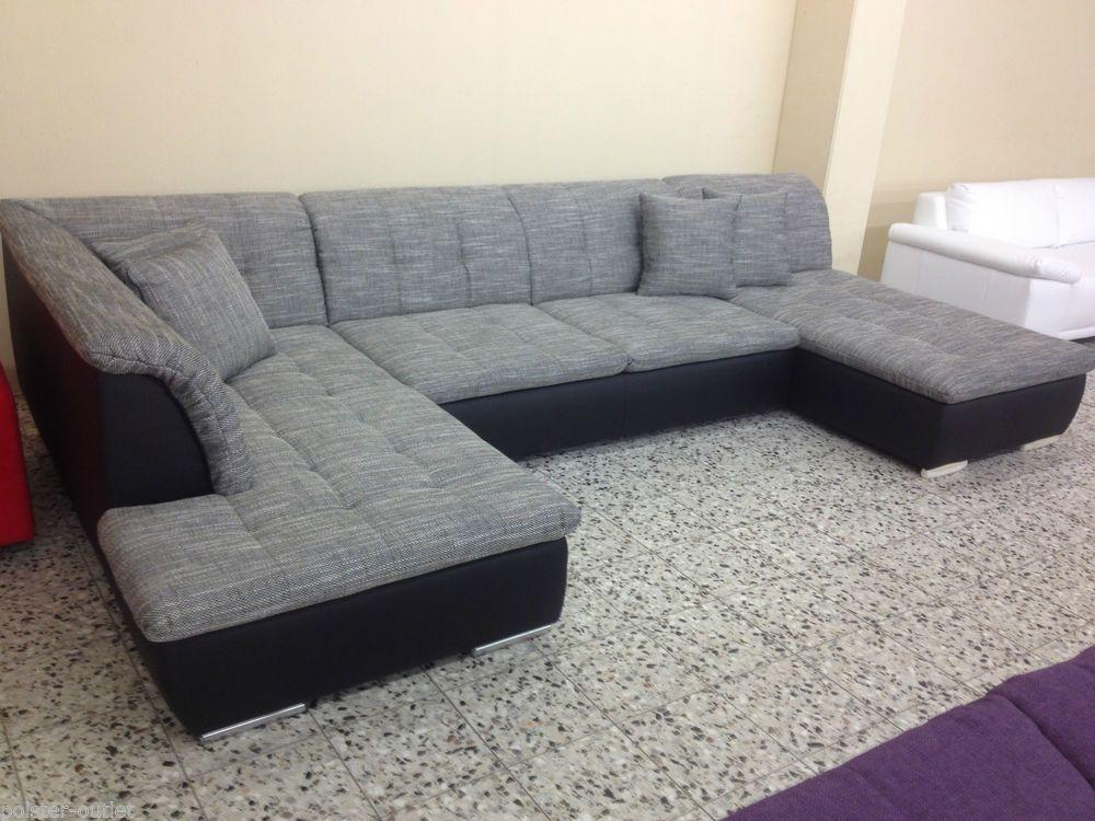 OVP NEU u WOHNLANDSCHAFT SOFA COUCH Wohnzimmer Strukturstoff LEDER - couchgarnitur wohnzimmer pictures