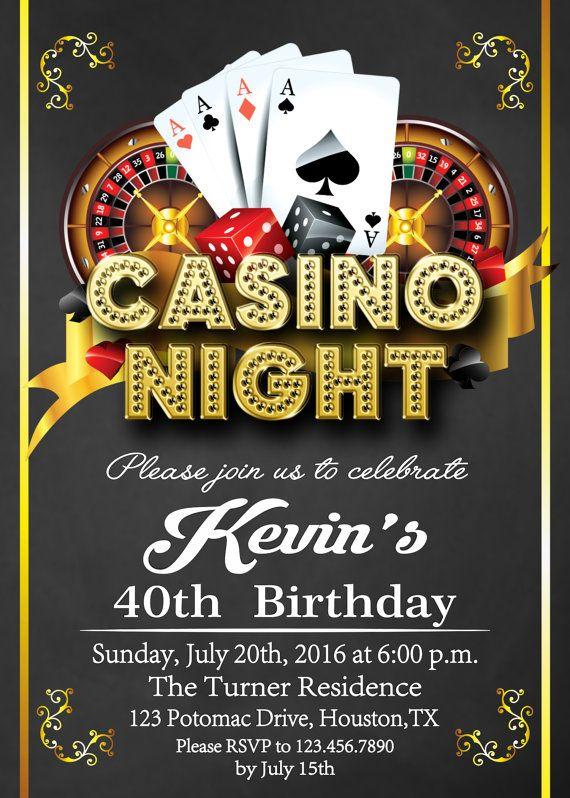 free printable casino party invitations