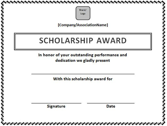 Scholarship Certificate Template in Word Format u2013 Microsoft Office - sample scholarship certificate