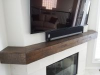 Corner fireplace distressed mantel shelf. Call for quote ...