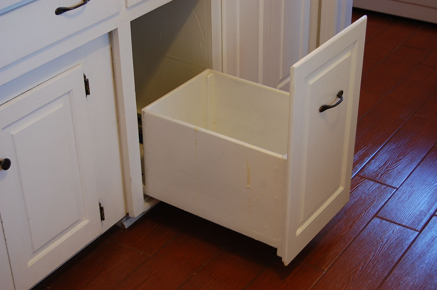 Kitchen Cabinet Trash Bin Slide Out Trash Can Drawer To Put In Place Of The Removed