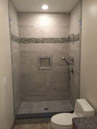 12x24 grey wall tiles, shower niche, 2x2 mosaic floor ...