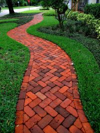 Brick herringbone walkway - Concrete Pavers & Clay Brick ...
