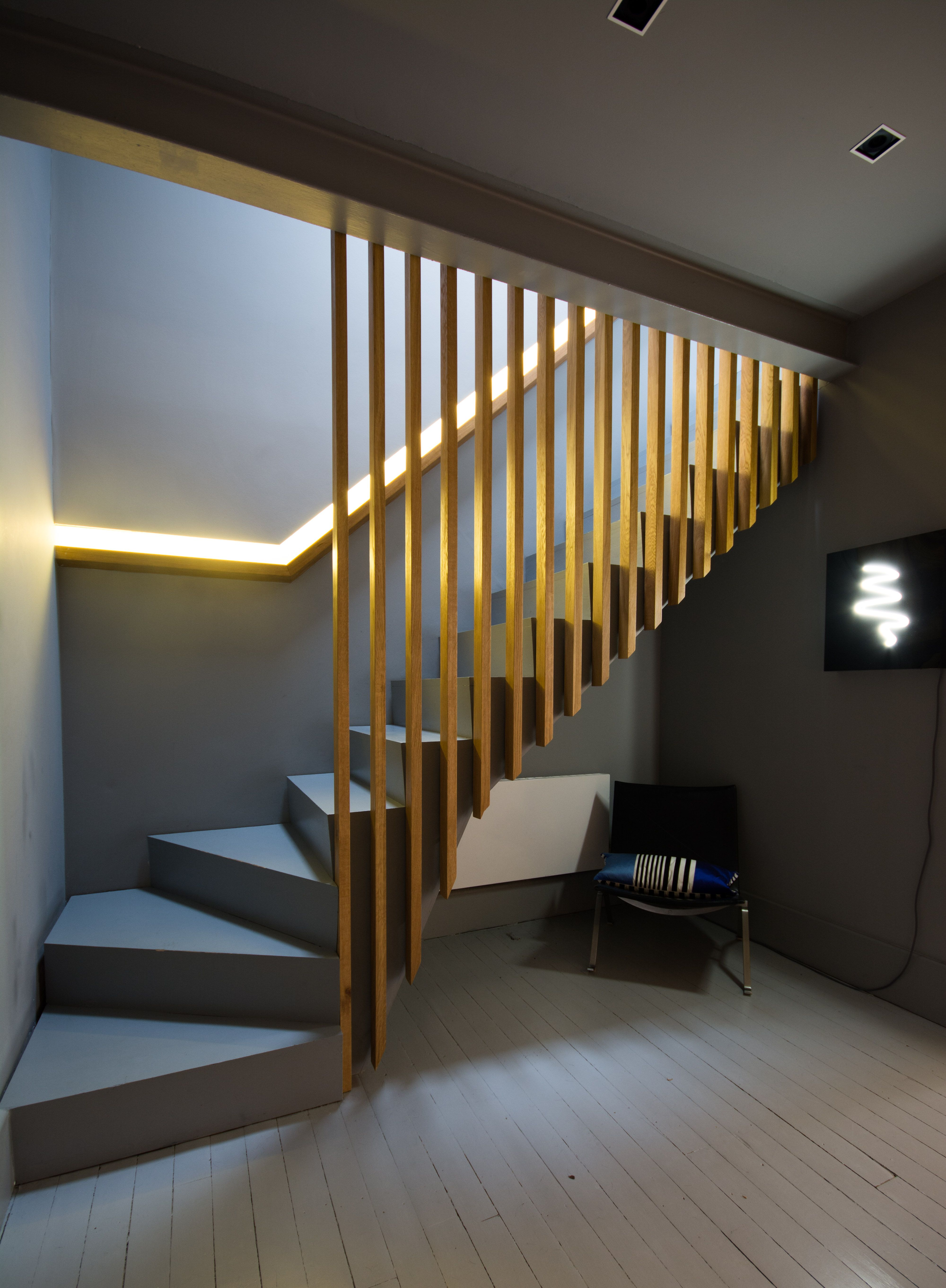 Raumteiler Holzlamellen Slatted Oak Stairs And Balustrade Oak Handrail Recessed