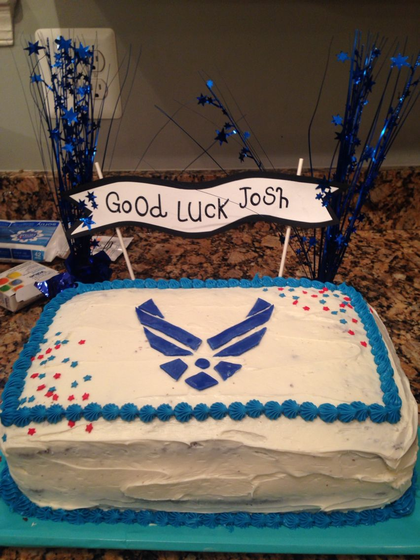 Made a double layer chocolate cake for an air force going away