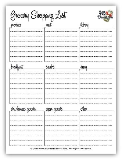 Free Printable Meal Planners and Grocery Shopping Lists - printable shopping list