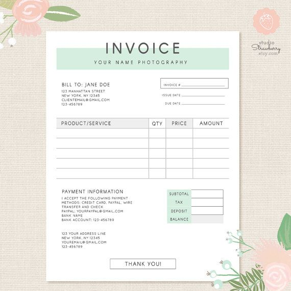 Invoice template Photography invoice Business by StudioStrawberry - photography invoice sample