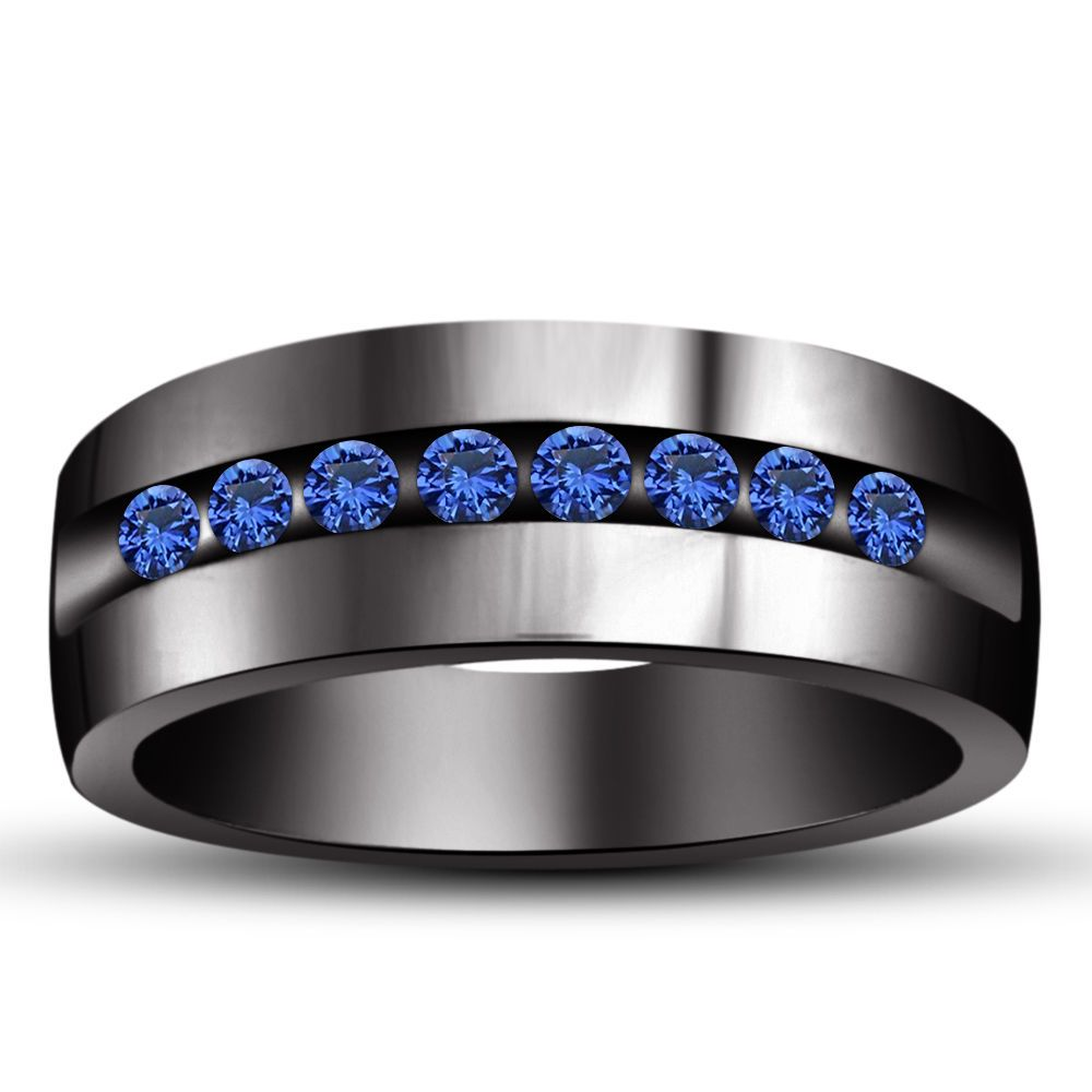 sapphire mens wedding band Sterling Silver Black Gp Blue Sapphire Wedding Men s Band Ring Suitable Sz