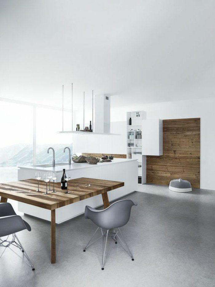 Küche modern gestalten Kücheninsel mit eingebautem Esstisch - moderne kuche gestalten