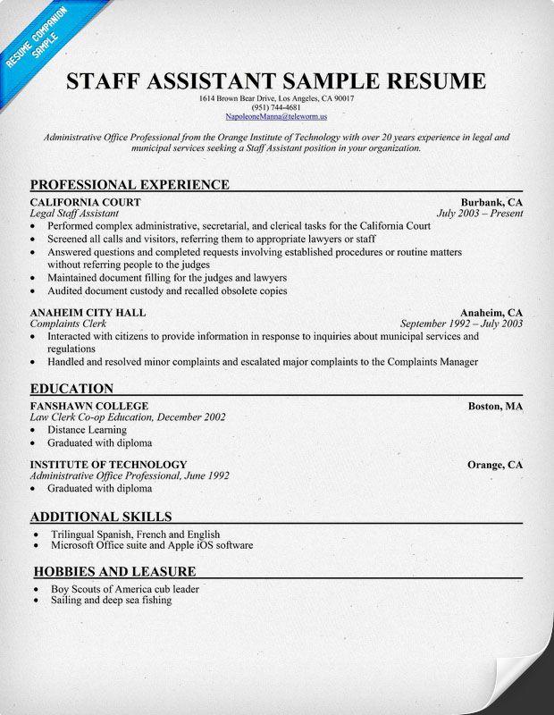 Staff Assistant Resume (resumecompanion) Resume Samples - resume companion