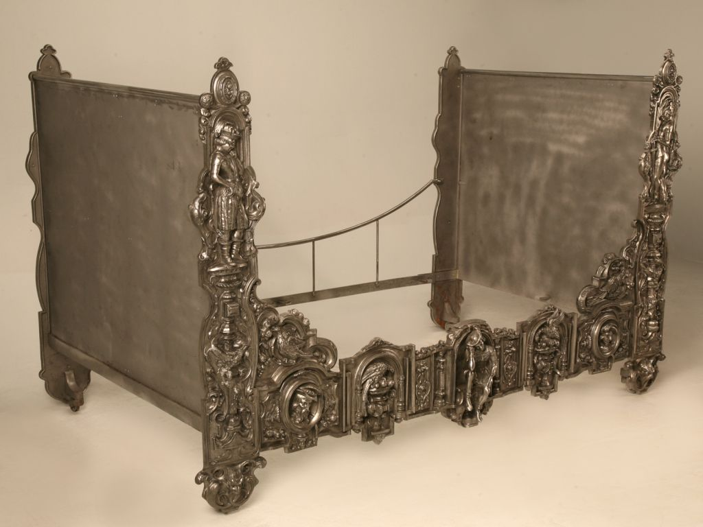 Extraordinary unique antique french 3d figural burnished iron day bed