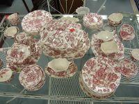 Johnson brother china dinnerware set, red and white ...
