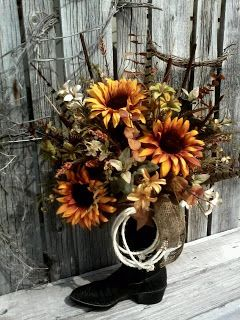 Fall Outdoor Decorations Wallpaper Floral Arrangements In Cowboy Boots Country Impressions