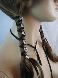 2 Skull Black Suede Ponytail Holder Hair Wrap Skeleton ...