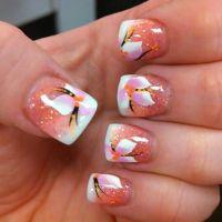 Gel nails spring nails flower designs white tip   Nails ...