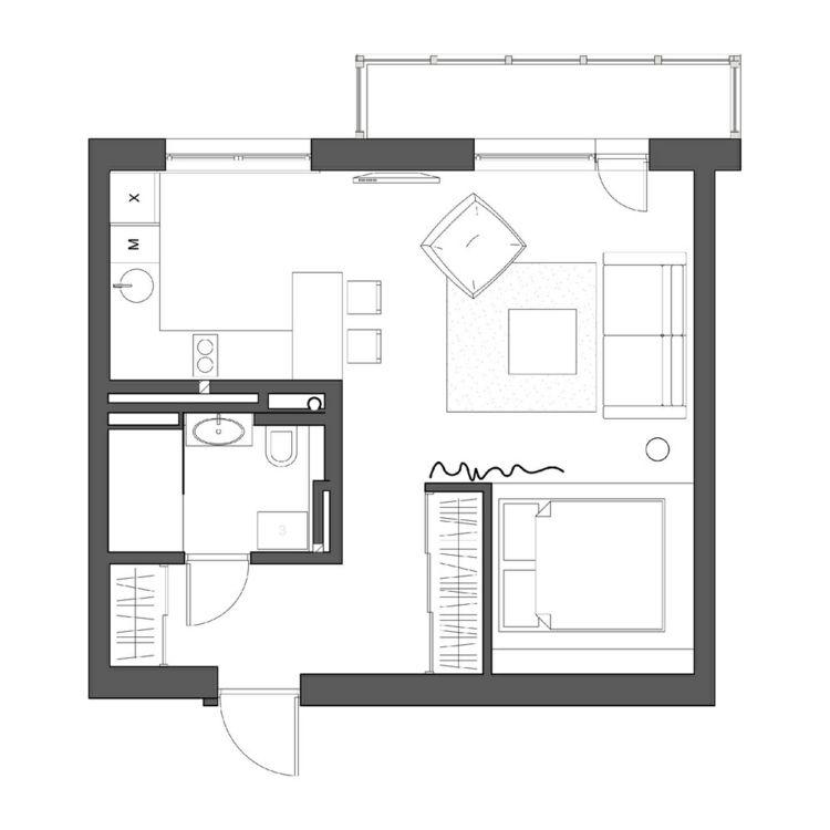 Grundriss der 1 Zimmer Wohnung u2026 Pinteresu2026 - 50 qm wohnung einrichten