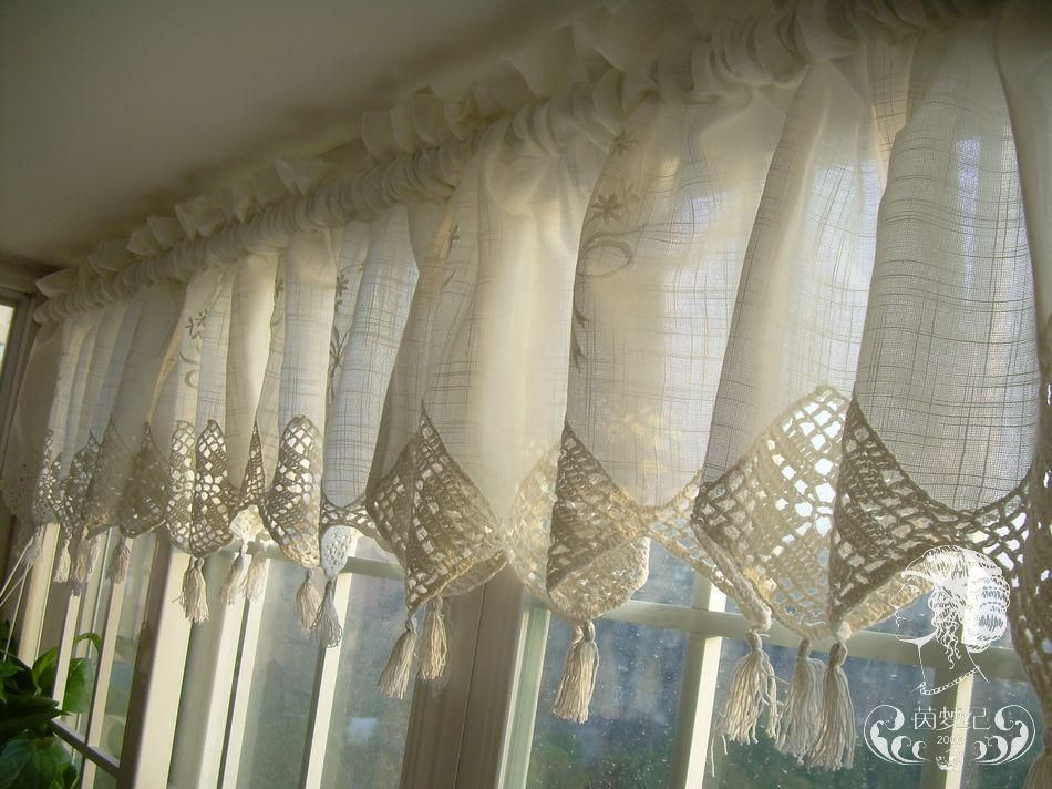 Gardine Landhausstil Shabby Set Of French Country Lace Crochet Cafe Kitchen Curtain