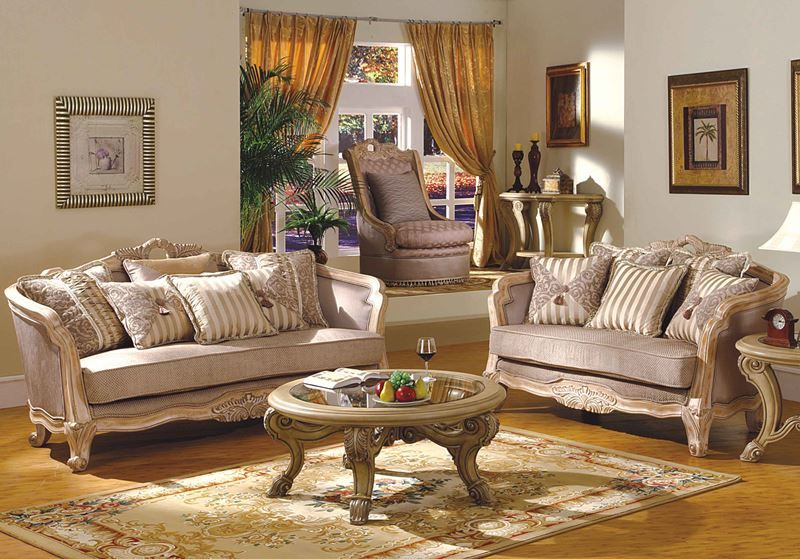 Leander Formal Living Room Set In Antique White Wash | Victorian