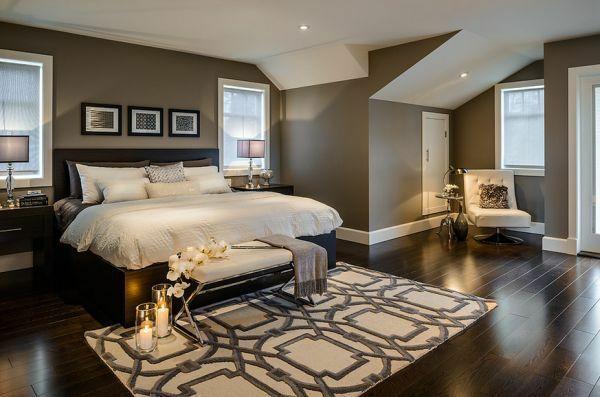 schlafzimmer bett holzboden wandfarbe grau living Pinterest - schlafzimmer gestalten wandfarbe