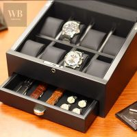 8 carbon fiber watch box with storage drawer www ...