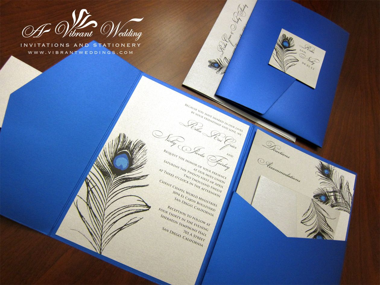 royal wedding invitation platinum wedding decorations Royal Blue Platinum Wedding Invitation With Peacock Feather Design