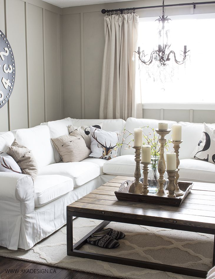 Ektorp Sectional with White Slipcovers for the Living Room - white sectional living room