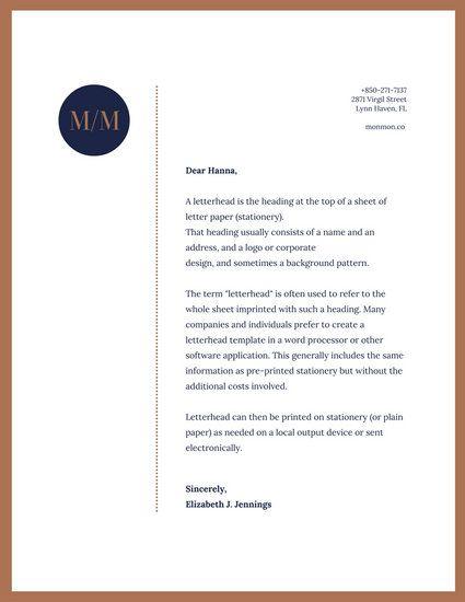 Brown \ Blue Simple Professional Letterhead Personal Brand - professional letterhead