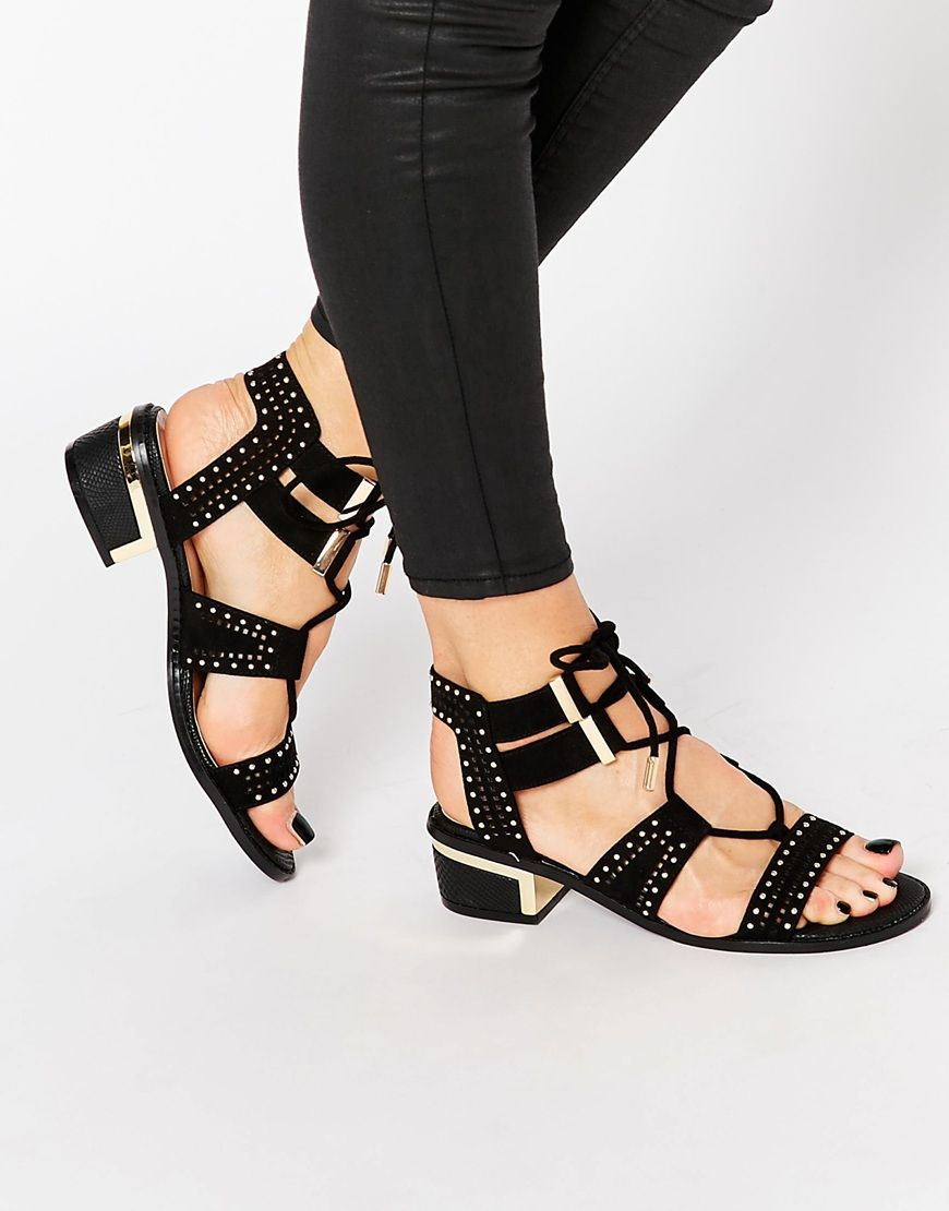 Image 1 of river island studded block heel sandal