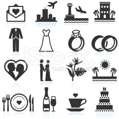 Destination Wedding Ceremony black & white vector icon set ...