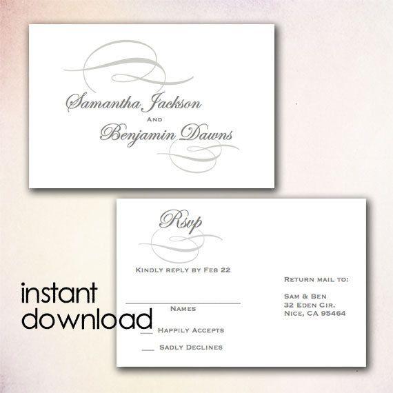 DIY Wedding RSVP Postcard Template - Instant Download Microsoft - printable postcard template free