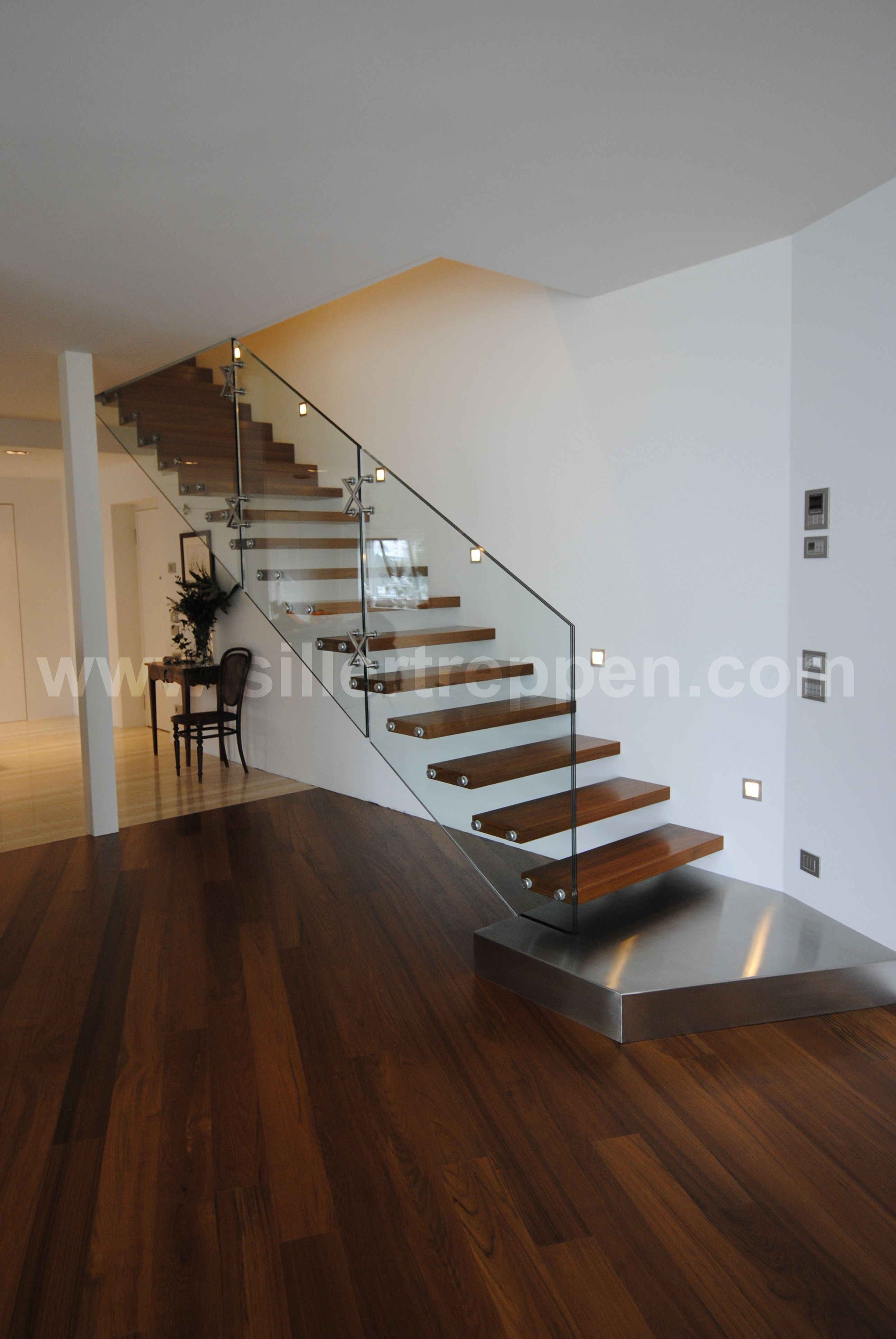 Stairs Designer Modern Floating Stair With Structural Glass Railing Wood
